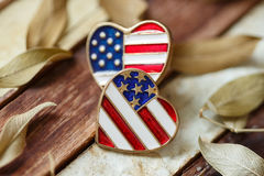 Símbolo del amor de América en la madera Fotografía de archivo libre de regalías