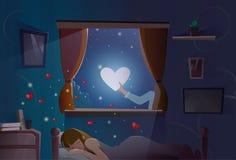 Símbolo del amor de la forma del corazón de la luna el dormir de la muchacha de Valentine Day Gift Card Holiday Fotografía de archivo libre de regalías