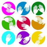 Símbolo del amor del icono de la mano del vector del corazón Fotografía de archivo