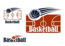 Símbolo del baloncesto con el campo y la bola Foto de archivo