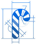 Símbolo del bastón de caramelo de la Navidad con las líneas de dimensión Imágenes de archivo libres de regalías
