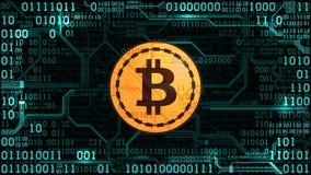 Símbolo del bitcoin crypto de la moneda en el fondo del código binario y de la placa de circuito impresa Fotografía de archivo