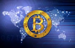 símbolo del bitcoin Fondo del concepto de la tecnología ejemplo abstracto del vector Fotografía de archivo