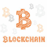 Símbolo del bitcoin y blockchain dibujados mano de las letras stock de ilustración