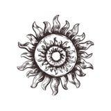 Símbolo del bosquejo del sol Vector pagano del sol stock de ilustración