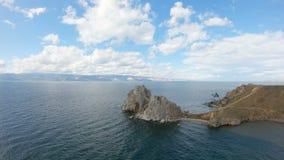 Símbolo del cabo Burkhan del lago Baikal Tiro a?reo almacen de video