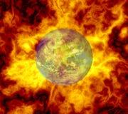 Símbolo del calentamiento del planeta Imágenes de archivo libres de regalías