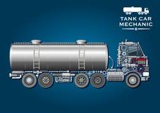 Símbolo del camión del tanque hecho de piezas mecánicas Imagen de archivo libre de regalías