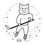 Símbolo 2019 del cerdo del hockey fotos de archivo libres de regalías