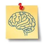Símbolo del cerebro en nota amarilla de la oficina Imagen de archivo libre de regalías