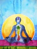 Símbolo del chakra de la yoga de la actitud de Lotus, pintura de la acuarela de la terapia del reiki Foto de archivo