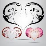 Símbolo del corazón con la silueta de una muchacha dentro. illust del vector Imágenes de archivo libres de regalías