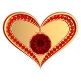 Símbolo del corazón con las gemas de rubíes Imagen de archivo