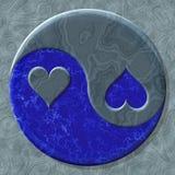 símbolo del corazón de Yin-Yang con el fondo generado inconsútil de la textura stock de ilustración