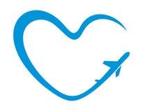 Símbolo del corazón del aeroplano Imágenes de archivo libres de regalías