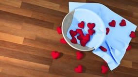 Símbolo del corazón del día del ` s de la tarjeta del día de San Valentín en un pote blanco en la tabla de madera Fotos de archivo