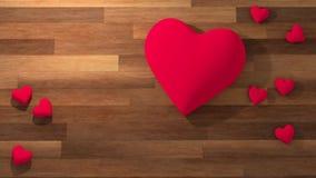 Símbolo del corazón del día del ` s de la tarjeta del día de San Valentín en un pote blanco en la tabla de madera Imagenes de archivo