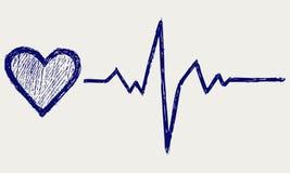 Símbolo del corazón y del latido del corazón ilustración del vector