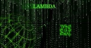 Símbolo del CORDERO de la lambda que brilla intensamente contra los símbolos descendentes del código binario almacen de metraje de vídeo