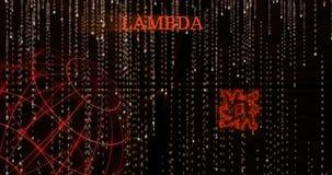Símbolo del CORDERO de la lambda que brilla intensamente contra los símbolos descendentes del código binario almacen de video