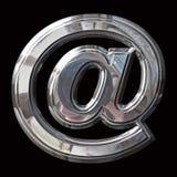 Símbolo del correo electrónico de Chrome con las trayectorias dobles del cartabón y de la trayectoria fotografía de archivo