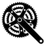 Símbolo del crankset del piñón de la rueda dentada de la bicicleta Imagenes de archivo