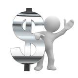 Símbolo del cromo del dólar Imágenes de archivo libres de regalías