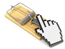 Símbolo del cursor de la mano en ratonera de madera Fotos de archivo libres de regalías