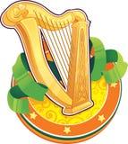 Símbolo del día de St.Patricks. La arpa irlandesa Stock de ilustración