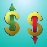 Símbolo del dólar con la flecha que estira para arriba abajo Imágenes de archivo libres de regalías