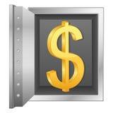 Símbolo del dólar de la caja fuerte y del oro de la batería stock de ilustración