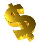 símbolo del dólar del oro 3d Imagen de archivo libre de regalías