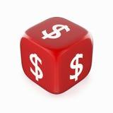 Símbolo del dólar en dados rojos Imagen de archivo libre de regalías
