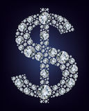 Símbolo del dólar en diamantes. Fotos de archivo libres de regalías