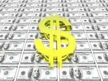 Símbolo del dólar en fondo del dinero fotografía de archivo libre de regalías