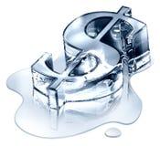 Símbolo del dólar en hielo de fusión Fotos de archivo libres de regalías