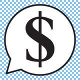 Símbolo del dólar en la burbuja del discurso, icono del vector Fotografía de archivo