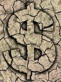 Símbolo del dólar en la tierra agrietada Imágenes de archivo libres de regalías