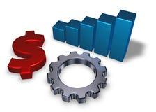Símbolo del dólar y rueda de engranaje Imagen de archivo libre de regalías