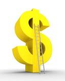 Símbolo del dólar y una escalera Foto de archivo