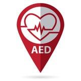 Símbolo del Defibrillator con el icono de la ubicación Fotos de archivo