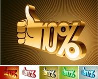 Símbolo del descuento o de la prima en la mano estilizada el 10% Fotografía de archivo libre de regalías