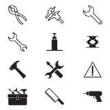 Símbolo 2 del ejemplo del vector de la colección del icono de la herramienta de la construcción Imagen de archivo