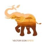 Símbolo del elefante Ilustración del vector té y puntillas de la imagen del elefante Naturaleza del sur Silueta de un elefante Lo Fotos de archivo