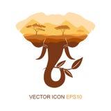 Símbolo del elefante Silueta de un elefante Logotipo para el té icono Naturaleza africana Ilustración del vector Fotos de archivo libres de regalías