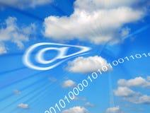 Símbolo del email en nubes stock de ilustración