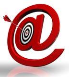 Símbolo del email y blanco rojos del concepto Foto de archivo libre de regalías