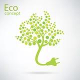 Símbolo del enchufe de la ecología y de la basura con eco Imagen de archivo