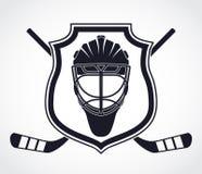 símbolo del escudo de la heráldica del casco del portero del Hielo-hockey Foto de archivo