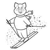 Símbolo 2019 del esquiador de la montaña del cerdo fotografía de archivo